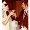 Eileen Collins and  Frank Audley at their wedding reception